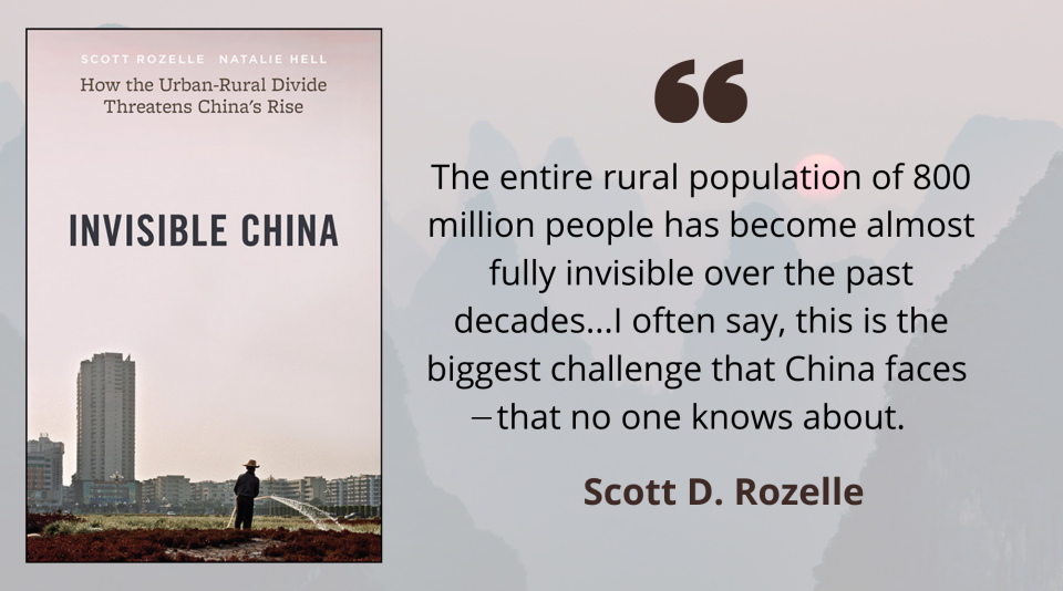 """Book cover for """"Invisible China: How the Urban-Rural Divide Threatens China's Rise"""" and a quote from Scott Rozelle, """"The entire population of 800 million people has become almost fully invisible over the past decades..."""""""