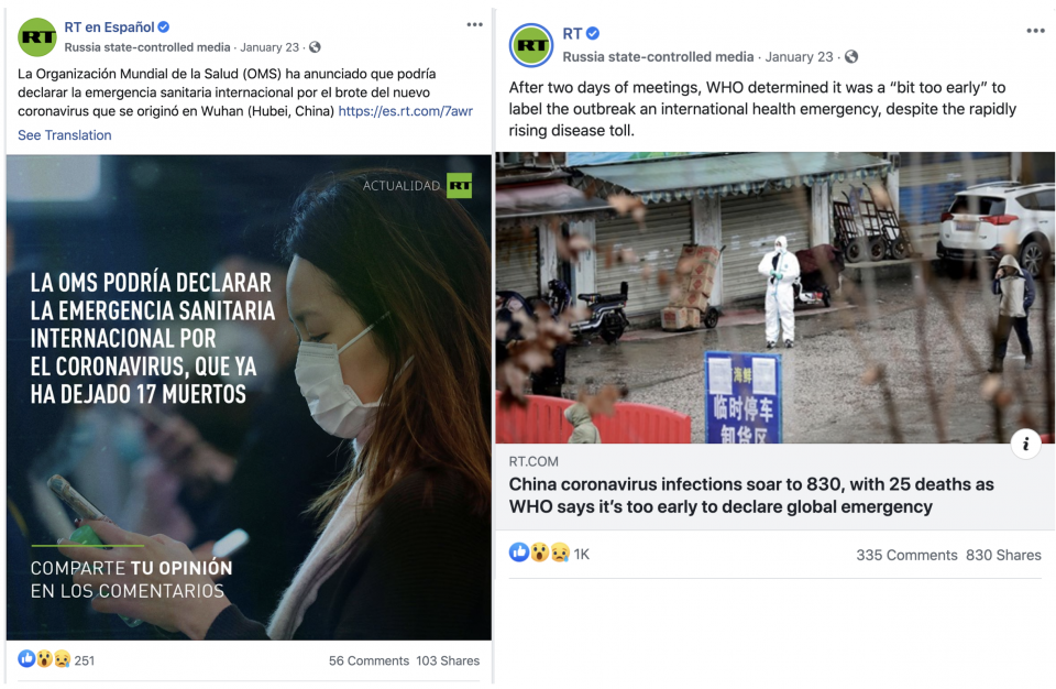 Posts from RT en Español (left) and RT (right)