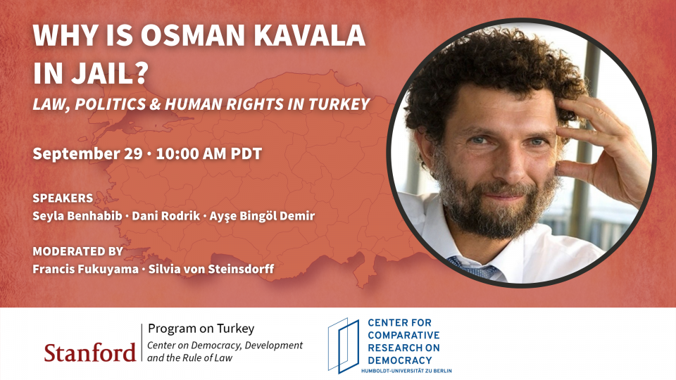"""Map of Turkey with image of Osman Kavala and text """"Why is Osman Kavala in jail?"""""""