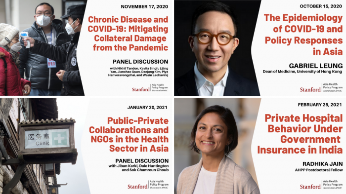 Collage of video thumbnails from the Asia Health Policy Program's webinars