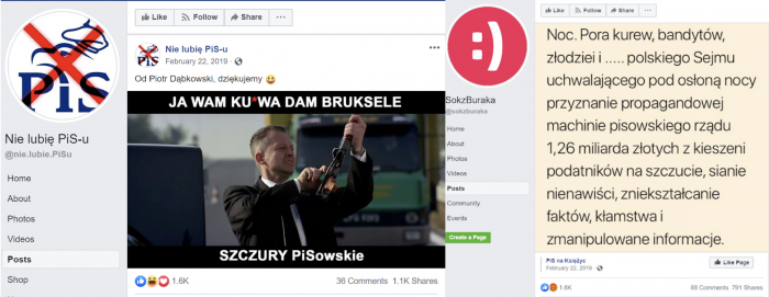 Posts published by the CrowdMedia network comparing PiS followers to rats and prostitutes.