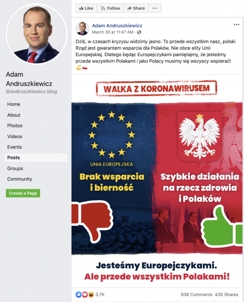 The original anti-EU post on the Page of Adam Andruszkiewicz, PiS's Minister of Digitization.