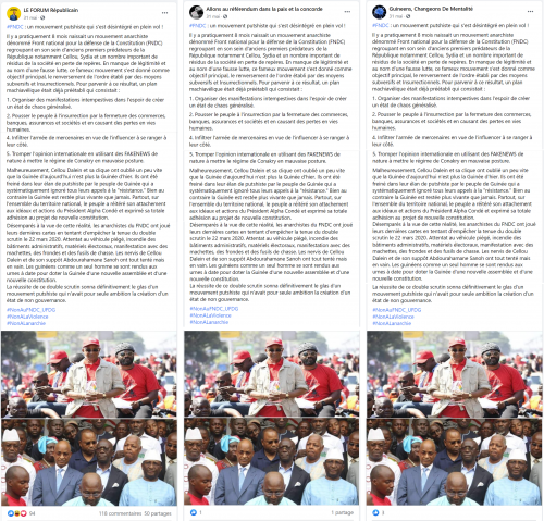 Examples of coordinated posting of identical content.