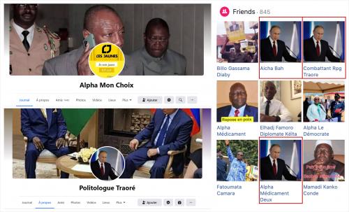 Exemples de comptes utilisant Condé ou Poutine comme photos de profil.