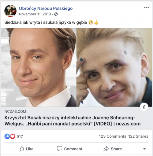 """A late 2019 post linking to an article on nczas.com promoting Bosak. """"Krzysztof Bosak intellectually destroys Joanne Scheuring-Wielgus,"""" the article's headline says."""