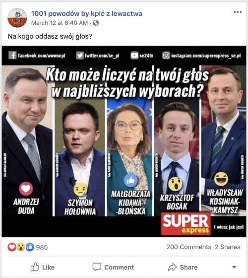 """An informal poll featured on a Page in the """"Netherlands"""" network. Duda received 480 votes, and Bosak 423."""