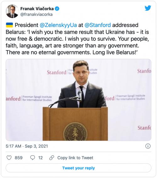 Tweet from Franak Viačorka