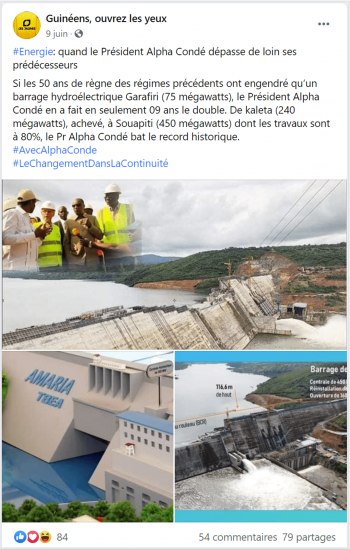 Post on hydroelectric dams built by Condé