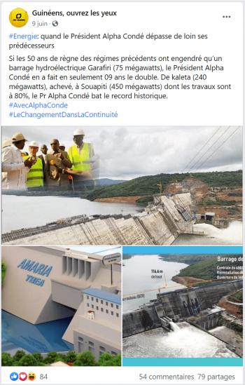 Publication vantant les barrages hydroélectriques construits par Condé.