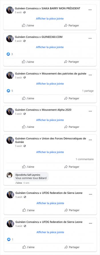 Exemple d'utilisateur partageant une même publication Volcom dans plusieurs groupes.