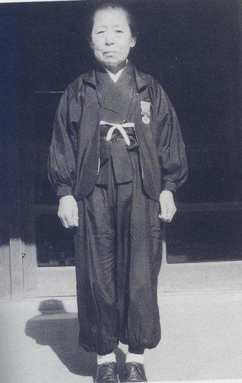 Kimi Takagi in her typical monpe (Japanese work pants for women) fashion
