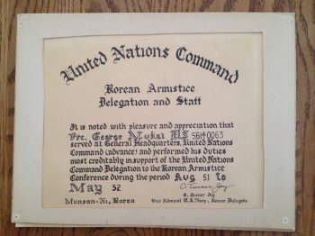 United Nations Command Certificate